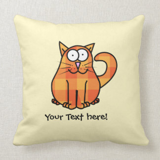 Cute Country Orange Calico Cartoon Kitty Cat Icon Throw Pillow