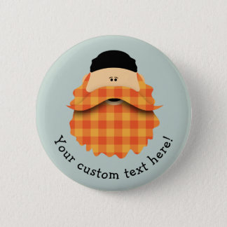 Cute Country Plaid Bright Orange Bearded Character 6 Cm Round Badge