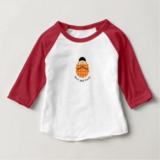 Cute Country Plaid Bright Orange Bearded Character Baby T-Shirt