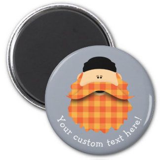 Cute Country Plaid Bright Orange Bearded Character Magnet