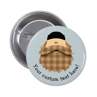 Cute Country Plaid Caramel Brown Bearded Character 6 Cm Round Badge