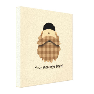 Cute Country Plaid Caramel Brown Bearded Character Canvas Print