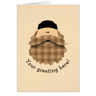 Cute Country Plaid Caramel Brown Bearded Character Card