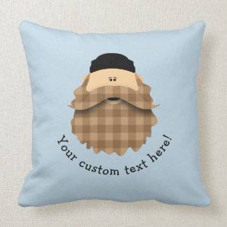 Cute Country Plaid Caramel Brown Bearded Character Cushion