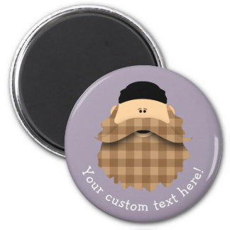 Cute Country Plaid Caramel Brown Bearded Character Magnet