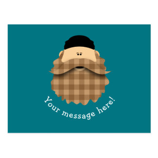 Cute Country Plaid Caramel Brown Bearded Character Postcard