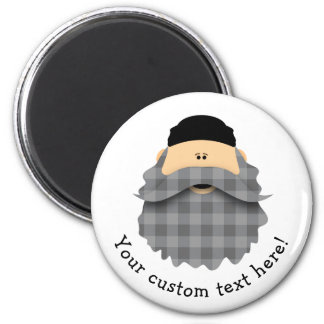 Cute Country Plaid Charcoal Gray Bearded Character Magnet