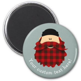 Cute Country Plaid Flannel Red Bearded Character Magnet