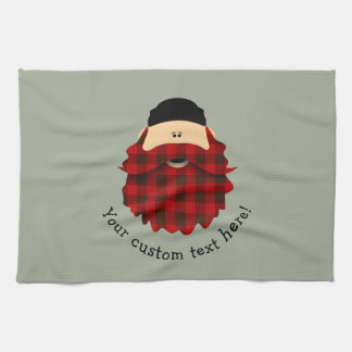 Cute Country Plaid Flannel Red Bearded Character Tea Towel