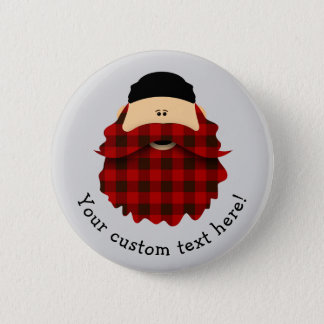 Cute Country Plaid Red Flannel Bearded Character 6 Cm Round Badge