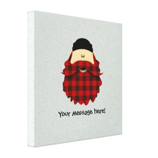 Cute Country Plaid Red Flannel Bearded Character Canvas Print