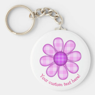 Cute Country Purple Pink Plaid Graphic Flower Icon Basic Round Button Key Ring