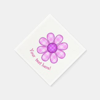 Cute Country Purple Pink Plaid Graphic Flower Icon Paper Napkin