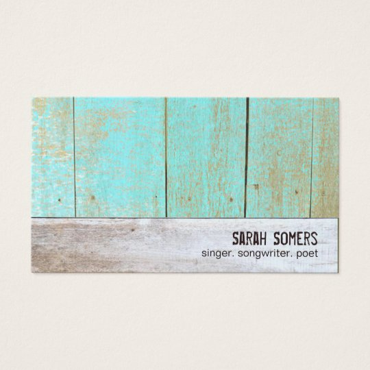 Cute Country Rustic Reclaimed Turquoise Wood Business Card