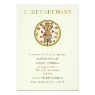"Cute Country Scarecrow Thanksgiving Invitation 5"" X 7"" Invitation Card"