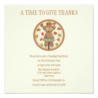 "Cute Country Scarecrow Thanksgiving Invitation 5.25"" Square Invitation Card"