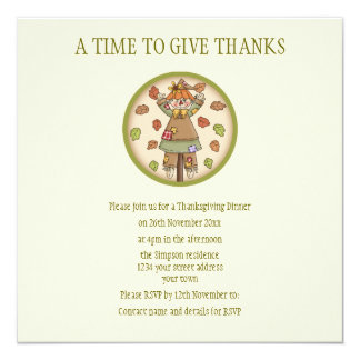 Cute Country Scarecrow Thanksgiving Invitation