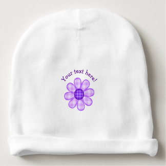 Cute Country Soft Purple Plaid Graphic Flower Icon Baby Beanie
