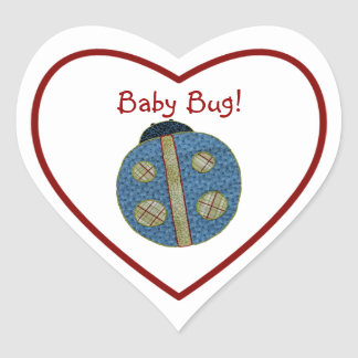 Cute Country Style Blue Ladybug Baby Bug Heart Sticker