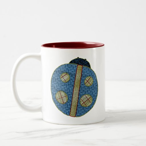 Cute Country Style Blue Ladybug Birth Announcement Mugs