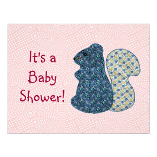 Cute Country Style Blue Squirrel Baby Shower Invite