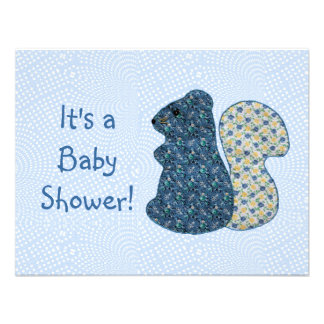 Cute Country Style Blue Squirrel Baby Shower Invitations