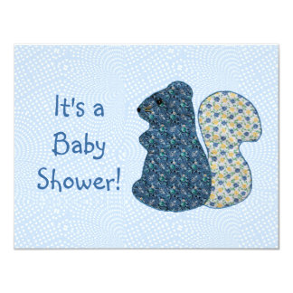 Cute Country Style Blue Squirrel Baby Shower 11 Cm X 14 Cm Invitation Card