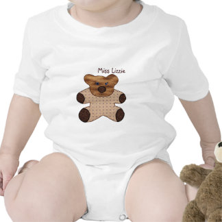 Cute Country Style Brown Teddy Bear With Name Baby Bodysuits