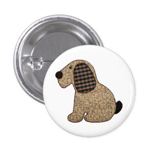 Cute Country Style Gingham Dog 3 Cm Round Badge