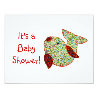 Cute Country Style Patchwork Goldfish Baby Shower 4.25x5.5 Paper Invitation Card