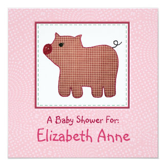 """Cute Country Style Pink Plaid Pig Baby Shower 5.25"""" Square Invitation Card"""