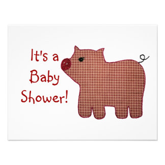 Cute Country Style Pink Plaid Pig Baby Shower Custom Invite