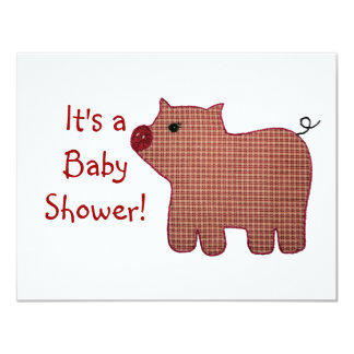 """Cute Country Style Pink Plaid Pig Baby Shower 4.25"""" X 5.5"""" Invitation Card"""