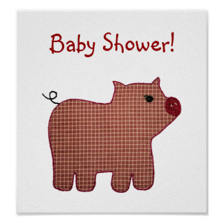 Cute Country Style Pink Plaid Pig Baby Shower Poster