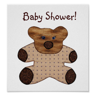 Cute Country Style Teddy Bear Baby Shower Poster