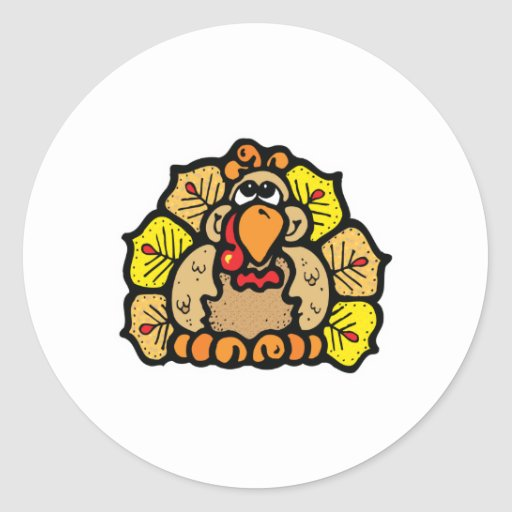 cute country style turkey round stickers