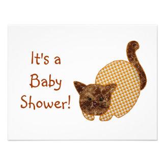 Cute Country Style Yellow Cat Baby Shower Custom Invites