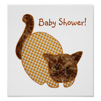 Cute Country Style Yellow Cat Baby Shower Poster