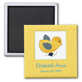 Cute Country Style Yellow Chick Birth Announcement Square Magnet