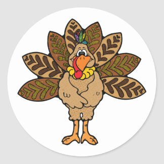 cute country turkey round stickers