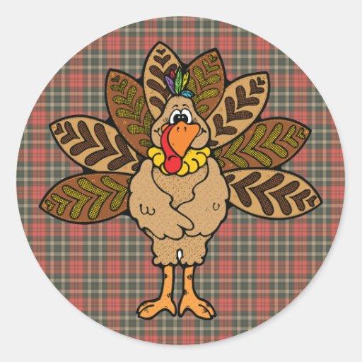 cute country turkey round sticker