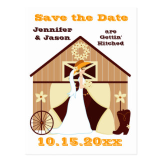 Cute Country Western Cowboy Save the Date Postcard