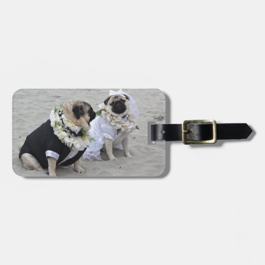 Cute couple bride and groom pugs luggage tag