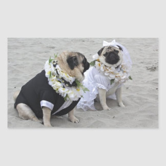Cute couple bride and groom pugs rectangular sticker