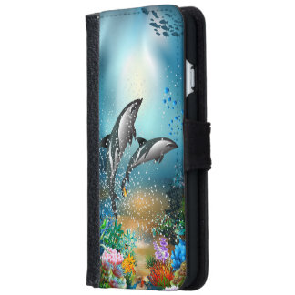 Cute Couple Dolphins Playing In Ocean iPhone 6 Wallet Case