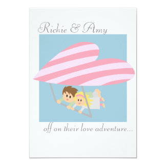 Cute couple flying on a heart-shaped hang-glider 13 cm x 18 cm invitation card