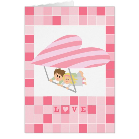 Cute couple flying on a heart-shaped hang-glider card