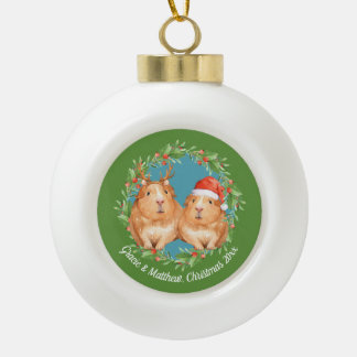 Cute Couple Guinea Pig Christmas Wreath Ceramic Ball Christmas Ornament
