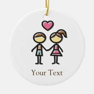 cute couple in love holding hands christmas ornament
