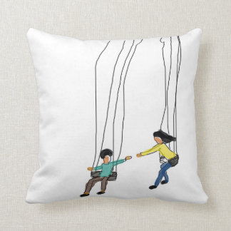 Cute couple in swing, Minimal illustrated pillow